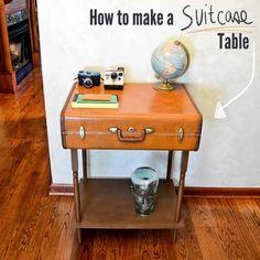 Origineel tafeltje van oude koffers, leuk idee voor hergebruik van koffers als meubelen en opbergruimte. Recycling van reiskoffers tot origineel meubilair.