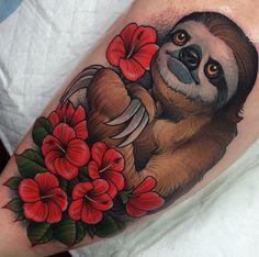 Tattoo by Crispy Lennox #sloth  http://savemyink.tumblr.com/post/118362666338/awesome-sloth-tattoo-by-crispy-lennox