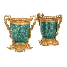 Pair of ormolu mounted malachite antique French cachepots Luxury Furniture Stores, Furniture Near Me, Azurite Malachite, Granite Stone, Luxury Life, French Antiques, Pairs, Pure Products, Antique Vases