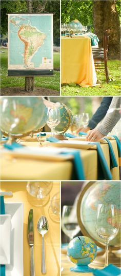 yellow and blue tones pulled from the vintage globes, travel theme