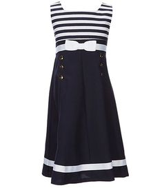 Bonnie Jean Big Girls Striped/Solid Nautical Fit-And-Flare Dress Lancome Gift With Purchase, Bonnie Jean, Dillards, Flare Dress, Fit And Flare, Skater Skirt, Nautical, Female, Big