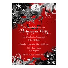 Shop Red Sparkle Magical Night Masquerade Party Invite created by Zizzago. Masquerade Party Invitations, Quinceanera Invitations, Birthday Party Invitations, Quinceanera Decorations, Birthday Decorations, Invites, Red Birthday Party, 16th Birthday, Happy Birthday