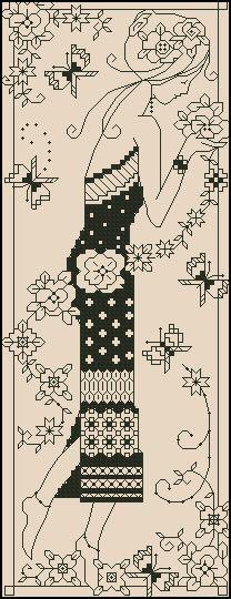 Girl with flowers-blackwork design