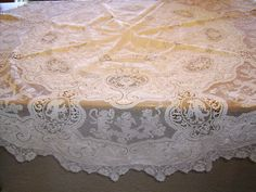 "Figural Italian 70"" Round Linen Pointe Venice, Heavy Embroidery, & Cutwork Tablecloth on Ruby Lane"