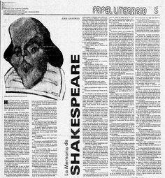Ensayo del escritor Jorge Luis Borges sobre el William Shakespeare.    Publicado el 06 de abril de 1980 por El Nacional