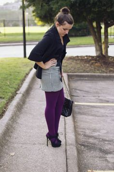 houndstooth + bright tights make work a little more fun
