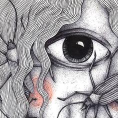 #ballpen #pastelcolours #sketchbook #giant #cyclops #girl #woman #bugs #crawl #blackwhite #red #big #eye #illustration #art #drawing