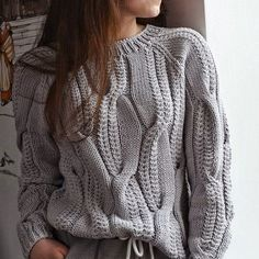 Knitted wool sweater light gray, Knitted clothing Jeans sweater Cable knit sweater Pullover Oversizes sweater Women's sweater Gift for her - Knitting Knitted Coat, Hand Knitted Sweaters, Sweaters And Jeans, Cotton Sweater, Wool Sweaters, Sweaters For Women, Knitting Sweaters, Crochet Top Outfit, Handgestrickte Pullover