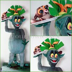 King Julien - Cake by Flourbowl Cakes King Julien, Celebration Cakes, Dreamworks, How To Make Cake, Disney Characters, Fictional Characters, Animation, Joy, Christmas Ornaments