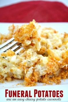Funeral Potatoes are a cheesy potato casserole recipe that your whole family will enjoy! They are the perfect dish for large family gatherings and potlucks!