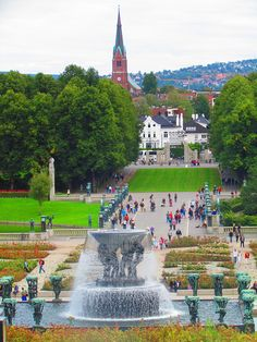 Frognerparken, Oslo, Norway. . When I visited, there was a stunning display of begonias in summer, added to the charm.