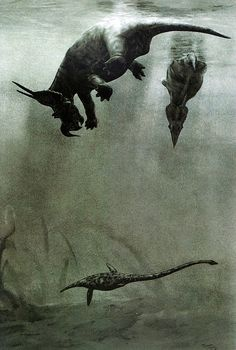 Dinosaurs go for a dip. Link is to a collection of great dino art (with artists named and linked).