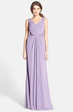 Monique Lhuillier Bridesmaids Lace Back Chiffon Gown available at #Nordstrom