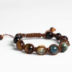 Golden agate is a powerful stone, known to provide balance between one's physical, emotional,            intellectual and spiritual states. Combining it with black onyx and tiger's eye gives it the earthy strength we need to tap into our own personal power!Soul   Journey specializes in the spiritual power of gemstones to improve your  life as well as your look! These boho bracelets have a medley of jewels  that work together to provide a complete embodiment of positive juju!  Live life with…