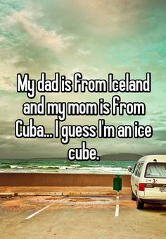 My dad is from Iceland and my mom is from Cuba… I guess I'm an ice cube. My father is from Iceland and my mother is from Cuba … I think I am an ice cube. Funny Shit, Funny Puns, Funny Relatable Memes, Funny Texts, Funny Stuff, Funny Things, Most Funny Jokes, Funny Jokes And Riddles, Hilarious Sayings