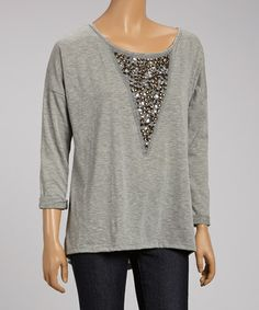 Look what I found on #zulily! Gray Inverted-Triangle Beaded Sweatshirt by Peridot #zulilyfinds