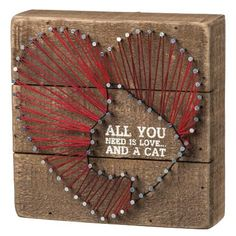 Calling all cat lovers! A perfect gift or decoration for your home!  SKU: 33166 Red String Art  Wooden Sign  6'' Square