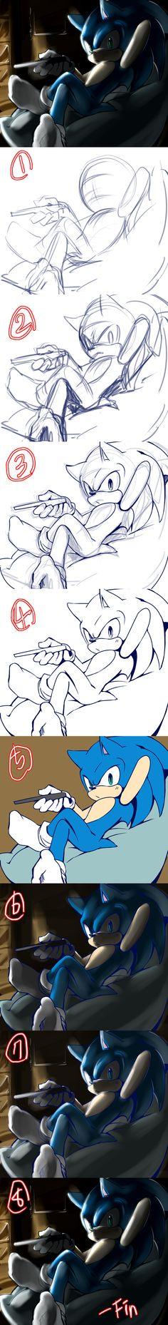 process by Lenmeu on deviantART Sonic's dynamic art