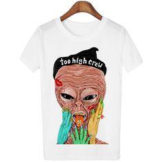 Smoking Alien T-Shirt, multiple variations