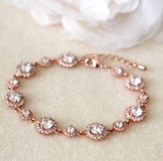 Rose Gold Weding Bridal Bracelet Round clear white Cubic Zirconia bracelet Wedding Jewelry wedding party gift prom party birthday party gift by DreamIslandJewellery on Etsy
