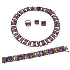 Theodore Farhner Art Deco Marcasite Amethyst Silver Suite | From a unique collection of vintage choker necklaces at https://www.1stdibs.com/jewelry/necklaces/choker-necklaces/