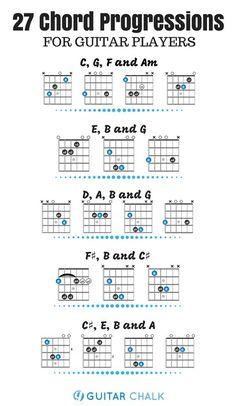 27 Chord Progressions for Guitar Players: A Rhythm Reference 27 chord progressions for guitar players and a beginner rhythm guitar lesson. Music Theory Guitar, Guitar Chords For Songs, Music Chords, Guitar Sheet Music, Guitar Tips, Piano Sheet, Acoustic Guitar Chords, Guitar Chords Beginner, Guitar For Beginners