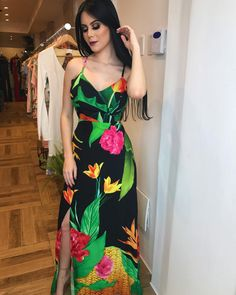 Image may contain: 2 people Beautiful Summer Dresses, Beautiful Gowns, Beautiful Outfits, Luau Dress, Floral Maxi Dress, Sexy Dresses, Casual Dresses, Fashion Dresses, Tropical Outfit
