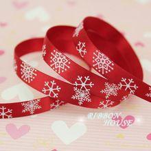 """(5 jardas/lote) 3/8 """"(10mm) impressa Fita de Cetim fitas de presente de natal Do Floco De Neve Vermelho(China (Mainland))"""