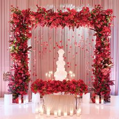 Quince Decorations, Quinceanera Decorations, Stage Decorations, Indian Wedding Decorations, Festival Decorations, Flower Decorations, Wedding Of The Year, Wedding Stage, Red And White Weddings