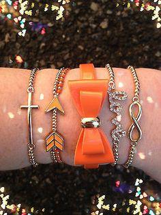 Bracelet Arm Candy Stack Love Infinity Bow Orange Arrow Beaded Wrap Set New