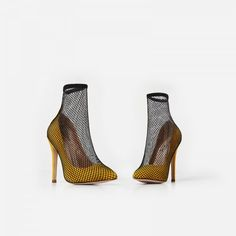c613d5c4d0d79d Custom Made Girls paty ware shoes Stiletto Heel Yellow Faux Suede Fishnet  Ankle Boot For Women
