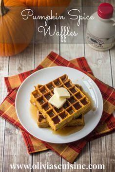 Pumpkin Spice Waffles   http://www.oliviascuisine.com #Fall #breakfast