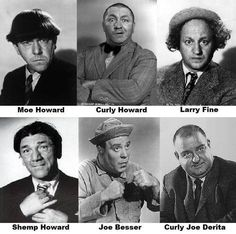 All six of the Three Stooges! Too bad it fell apart so fast after Shemp (or Curly, depending on your tastes). The Comedian, Great Comedies, Classic Comedies, The Stooges, The Three Stooges, Classic Tv, Classic Films, Hollywood Stars, Classic Hollywood