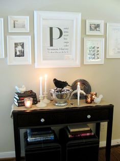 Find an book/article/paragraph that starts with a large letter significant to you. Enlarge it. Frame it. Easy and cheap!