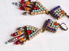Triangle geo Tribal Rhinestone Earring Hangers by ellivira on Etsy
