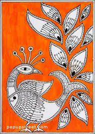 Pep Up Street - Orange Peacock Madhubani Mithila Painting Madhubani Paintings Peacock, Kalamkari Painting, Madhubani Art, Pichwai Paintings, Indian Art Paintings, Worli Painting, Indian Folk Art, Art N Craft, Mural Art