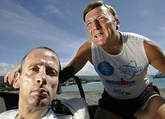 #TeamHoyt - Dick Hoyt and Rick Hoyt. The most amazing father and son team ever! Rick has cerebral palsy and his Dad has pushed his son through full Ironman races (and swam while pulling him and balanced on a bike with his son on the front) and completed so many marathons! Makes my running look like a joke. So inspiring.