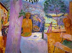 The terrace at vernon, 1939 by Pierre Bonnard. Post-Impressionism. genre painting
