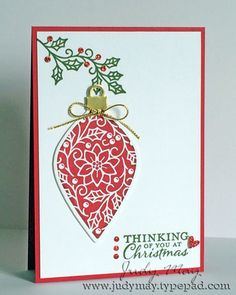 Stampin' Up! 'Embellished Ornaments' & 'Delicate Ornaments' Thinlits. Judy May, Just Judy Designs.