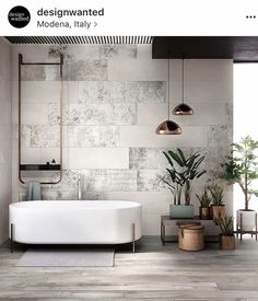 Summer style!! Look at the MODERN footed bathtub!! Modern contemporary minimal bathroom - with gorgeous tub and details like the plant planters and pots!