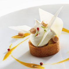"""""""Exotic Drop"""" Plated dessert by L'Ecole Valrhona Pastry Chef Christophe Domange, made with Valrhona WAINA 35%, our latest (organic and fair trade) white chocolate."""