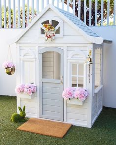 Summertime Project – Build a Playhouse for Your Kids Kids Cubby Houses, Kids Cubbies, Play Houses, Kids Outdoor Play, Backyard For Kids, Outdoor Fun, Backyard Projects, Backyard Playhouse, Build A Playhouse