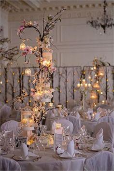 Bird Cage Winter Wedding Decor - Deer Pearl Flowers