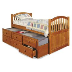 Arched Captain's Bed with Storage - Honey $319.99 sheets and spread are not my style but like the idea of having an extra pull out bed for kids sleep over.