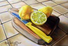 asta a 1 euro dipinto a olio su tela 20X30 stupendo tagliare con limoni