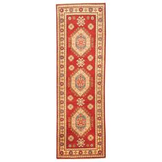 Herat Oriental Afghan Hand-knotted Tribal Kazak Red/ Ivory Wool Runner (2' x 6'6) | Overstock.com Shopping - The Best Deals on Runner Rugs