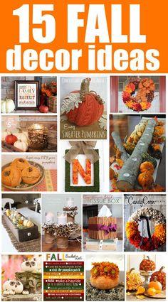 15 Fall Decor Ideas. Ideas to use from September through November!