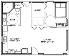 24 X 30 House Plans Awesome House 720 Sq Ft Excellent Floor Plans Small House Floor Plans, Cottage Floor Plans, Cabin Floor Plans, Craftsman House Plans, Modern House Plans, 1 Bedroom House Plans, Tiny House Living, Cottage House, Apartment Plans