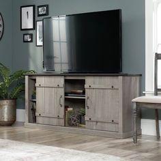 Highboy Tv Stand, Tv Stand With Storage, Hidden Storage, Tv Credenza, Sauder Woodworking, Farmhouse Tv Stand, Solid Wood Tv Stand, Coastal Farmhouse, Modern Farmhouse