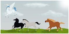 Disney Horses-  Pegasus(Hercules)  Khan(Mulan)  Samson(Sleeping Beauty)  Phillipe(Beauty & the Beast).